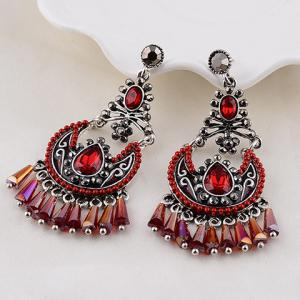 Gothic Faux Crystal Water Drop Earrings For -
