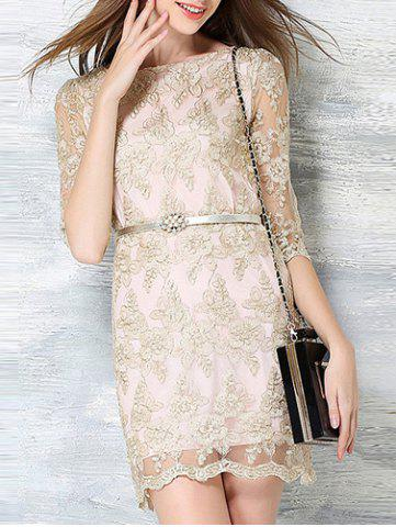 Outfits Chic Round Neck 3/4 Sleeve Embroidered Women's Dress