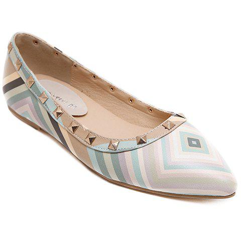 Chic Fresh Style Color Block and Rivets Design Flat Shoes For Women LIGHT BLUE 39