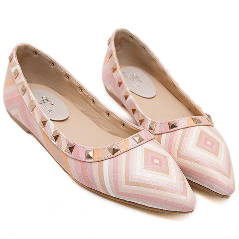 Store Fresh Style Color Block and Rivets Design Flat Shoes For Women - 37 PINK Mobile