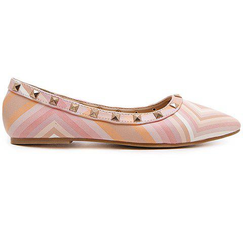 New Fresh Style Color Block and Rivets Design Flat Shoes For Women - 37 PINK Mobile