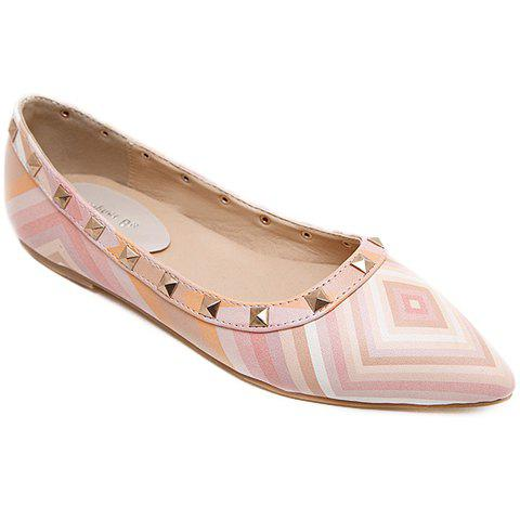 Best Fresh Style Color Block and Rivets Design Flat Shoes For Women - 37 PINK Mobile