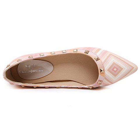 Shop Fresh Style Color Block and Rivets Design Flat Shoes For Women - 37 PINK Mobile