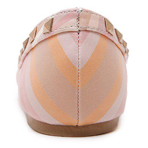 Hot Fresh Style Color Block and Rivets Design Flat Shoes For Women - 37 PINK Mobile