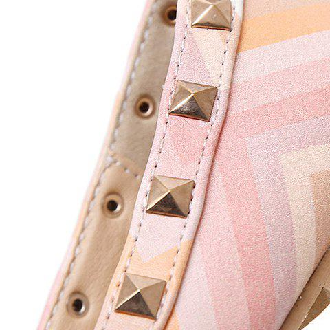 Cheap Fresh Style Color Block and Rivets Design Flat Shoes For Women - 37 PINK Mobile
