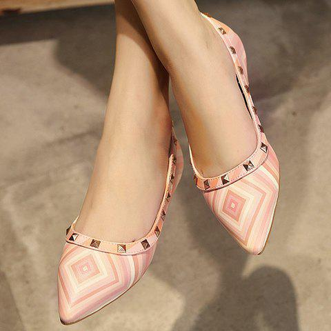 Sale Fresh Style Color Block and Rivets Design Flat Shoes For Women - 37 PINK Mobile