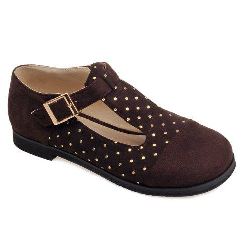 Shop Leisure Suede and T-Strap Design Flat Shoes For Women