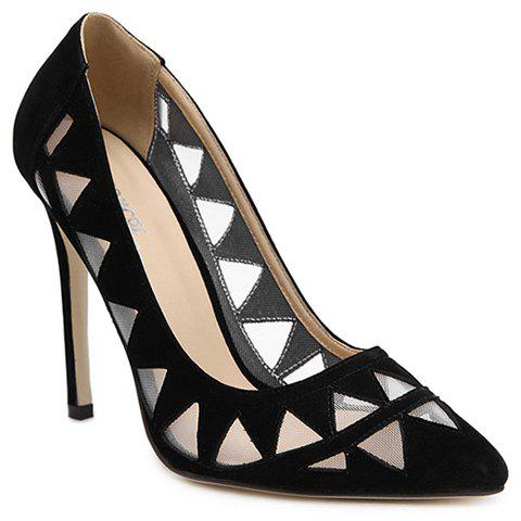 Chic Sexy Flock and Hollow Out Design Pumps For Women - 39 BLACK Mobile