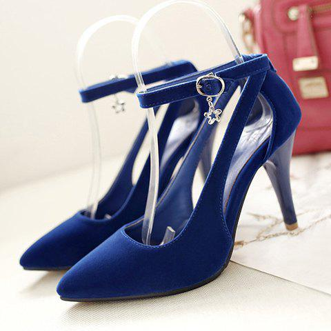 Online Stylish Ankle Strap and Hollow Out Design Pumps For Women - 37 BLUE Mobile