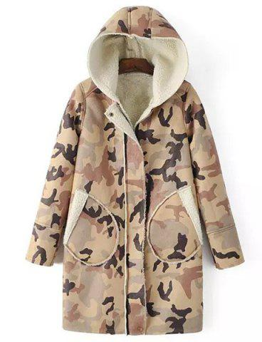 Buy Chic Hooded Camo Long Sleeve Coat For Women