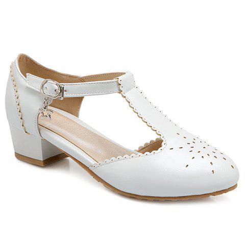 Buy Ladylike T-Strap and Engraving Design Flat Shoes For Women