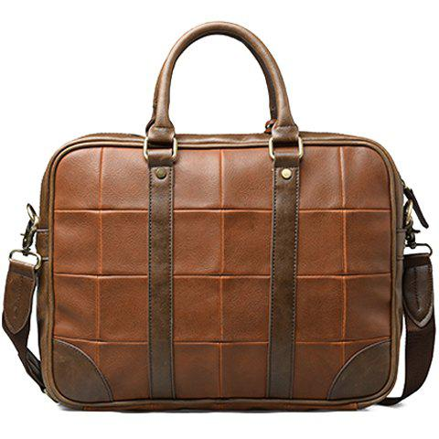 Latest Trendy Plaid and PU Leather Design Briefcase For Men