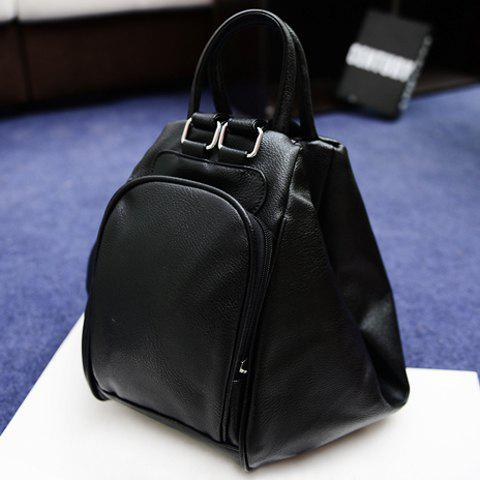 Shops Preppy Style PU Leather and Tassels Design Satchel For Women - BLACK  Mobile