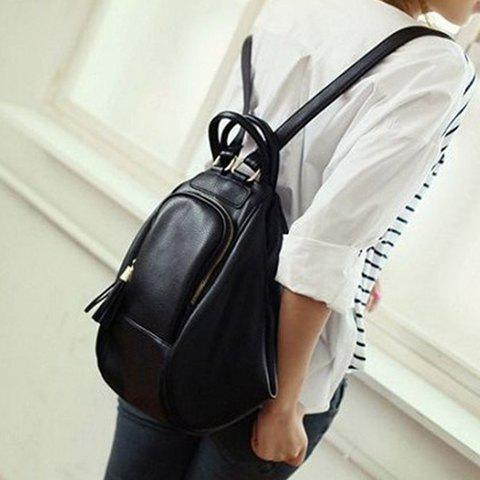 Hot Preppy Style PU Leather and Tassels Design Satchel For Women - BLACK  Mobile