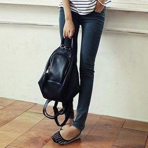 Fashion Preppy Style PU Leather and Tassels Design Satchel For Women - BLACK  Mobile