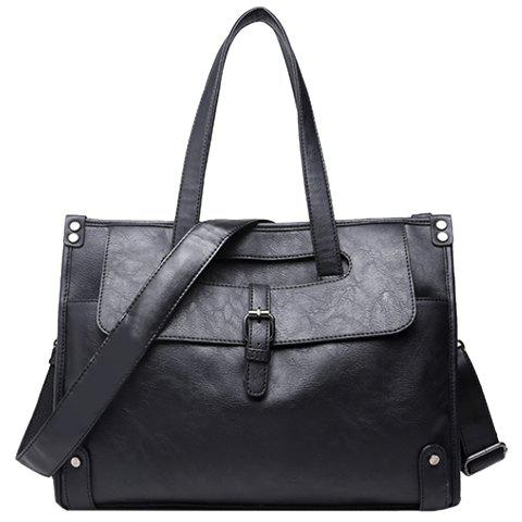 Fashion Trendy Buckle and Black Colour Design Briefcase For Men