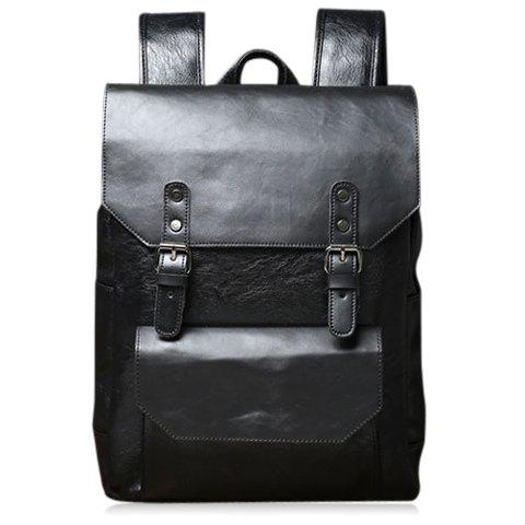Affordable Casual Double Buckle and Black Color Design Backpack For Men