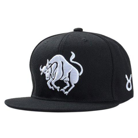 Sale Stylish White Ox Embroidery Black Baseball Cap For Men