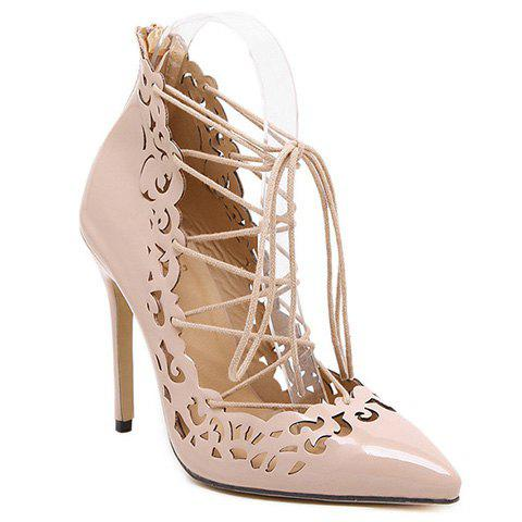 Buy Elegant Hollow Lace-Up Design Pumps Women - Nude 37
