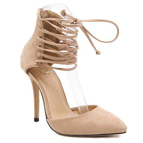 Online Fashionable Tie Up and Suede Design Pumps For Women