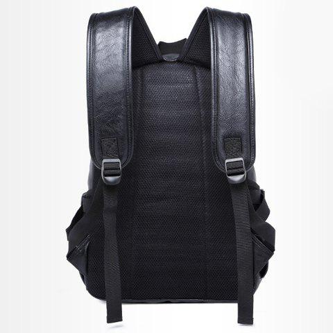 Trendy Leisure Zipper and PU Leather Design Backpack For Men - BLACK  Mobile
