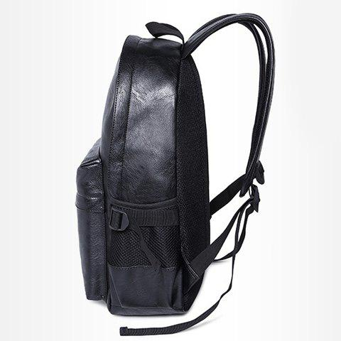 Outfits Leisure Zipper and PU Leather Design Backpack For Men - BLACK  Mobile