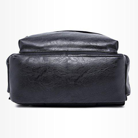 Fancy Leisure Zipper and PU Leather Design Backpack For Men - BLACK  Mobile