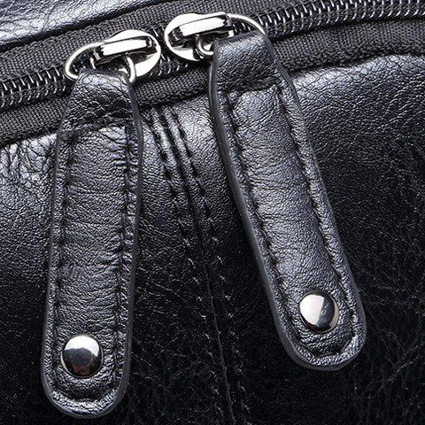 Buy Leisure Zipper and PU Leather Design Backpack For Men - BLACK  Mobile