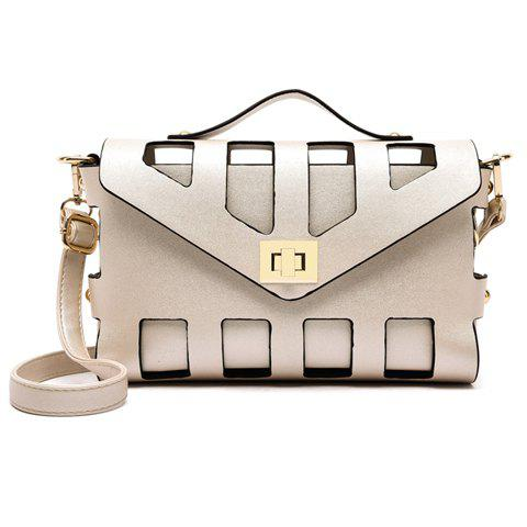 Unique New Arrival PU Leather and Hasp Design Tote Bag For Women OFF WHITE