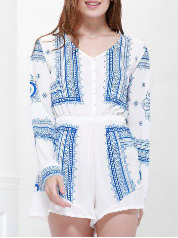 Chic Long Sleeve Printed Buttoned Playsuit