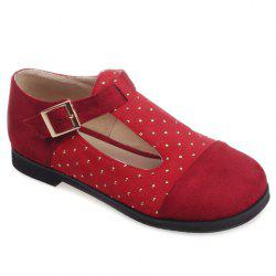Leisure Suede and T-Strap Design Flat Shoes For Women