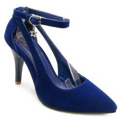 Stylish Ankle Strap and Hollow Out Design Pumps For Women - BLUE