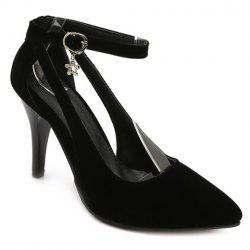 Stylish Ankle Strap and Hollow Out Design Pumps For Women - BLACK