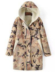 Chic Hooded Camo Long Sleeve Coat For Women -