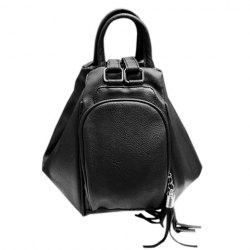 Preppy Style PU Leather and Tassels Design Satchel For Women - BLACK