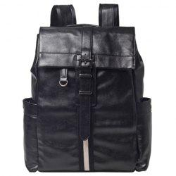 Casual Metal and PU Leather Design Backpack For Men -