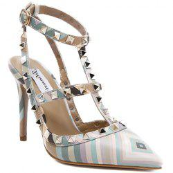 Sweet Color Block and Rivets Design Pumps For Women - GREEN