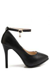 Elegant Ankle Strap and Stiletto Heel Design Pumps For Women - BLACK