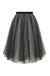 Trendy Elastic Waist Ball Gown Women's Voile Skirt