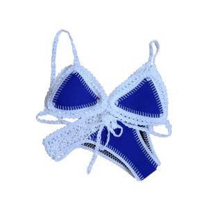 Stylish Spaghetti Strap Crochet Spliced Women's Bikini Set