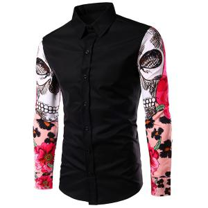 Fashion Turn Down Collar Splicing Printing Sleeves Shirt For Men