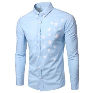 Fashion Turn Down Collar Star Printing Long Sleeves Shirt For Men - Light Blue - 2xl