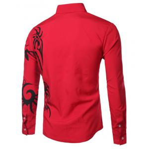 Fashion Turn Down Collar Dragon Printed Long Sleeves Shirt For Men -