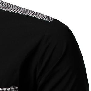 Fashion Turn Down Collar Houndstooth Pocket Short Sleeves Shirt For Men -
