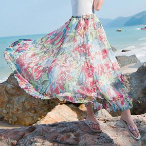 Stylish Elastic Waist Floral Print Chiffon Maxi Skirt For Women -