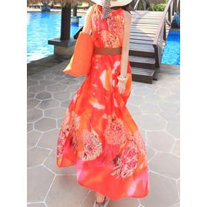 Charming Ruffled Collar Sleeveless Floral Print Beach Maxi Dress For Women -