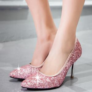 Elegant Sequins and Pointed Toe Design Pumps For Women - PINK 36