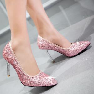 Elegant Sequins and Pointed Toe Design Pumps For Women - PINK 39