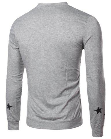 Best Round Collar Star Letter Printed Long Sleeves T-Shirt For Men - XL GRAY Mobile