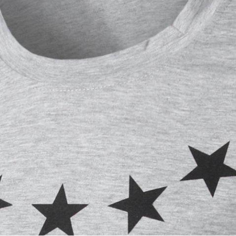 Cheap Round Collar Star Letter Printed Long Sleeves T-Shirt For Men - XL GRAY Mobile